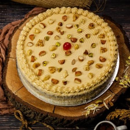 Almond Coffee Fudge Cake